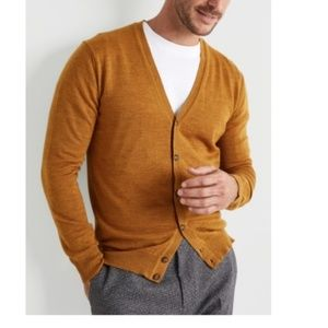 21Men Mustard Yellow Long Sleeve Button Cardigan